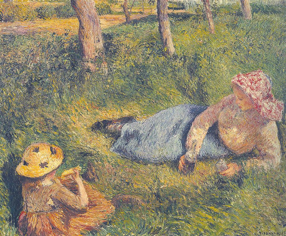 קאמי פיסארו, ארוחת מנחה, ילדה ואיכרה צעירה בעת מנוחה, 1882
