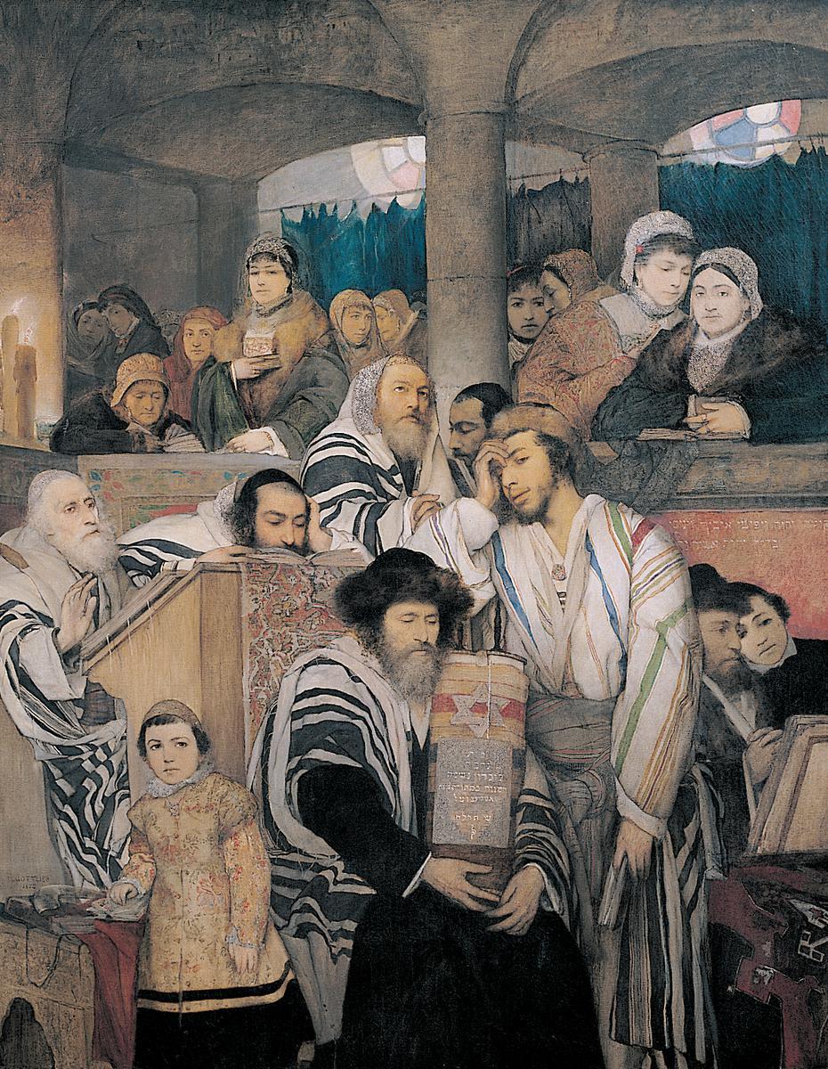 מאוריצי גוטליב, יהודים מתפללים בבית הכנסת ביום הכיפורים, 1878