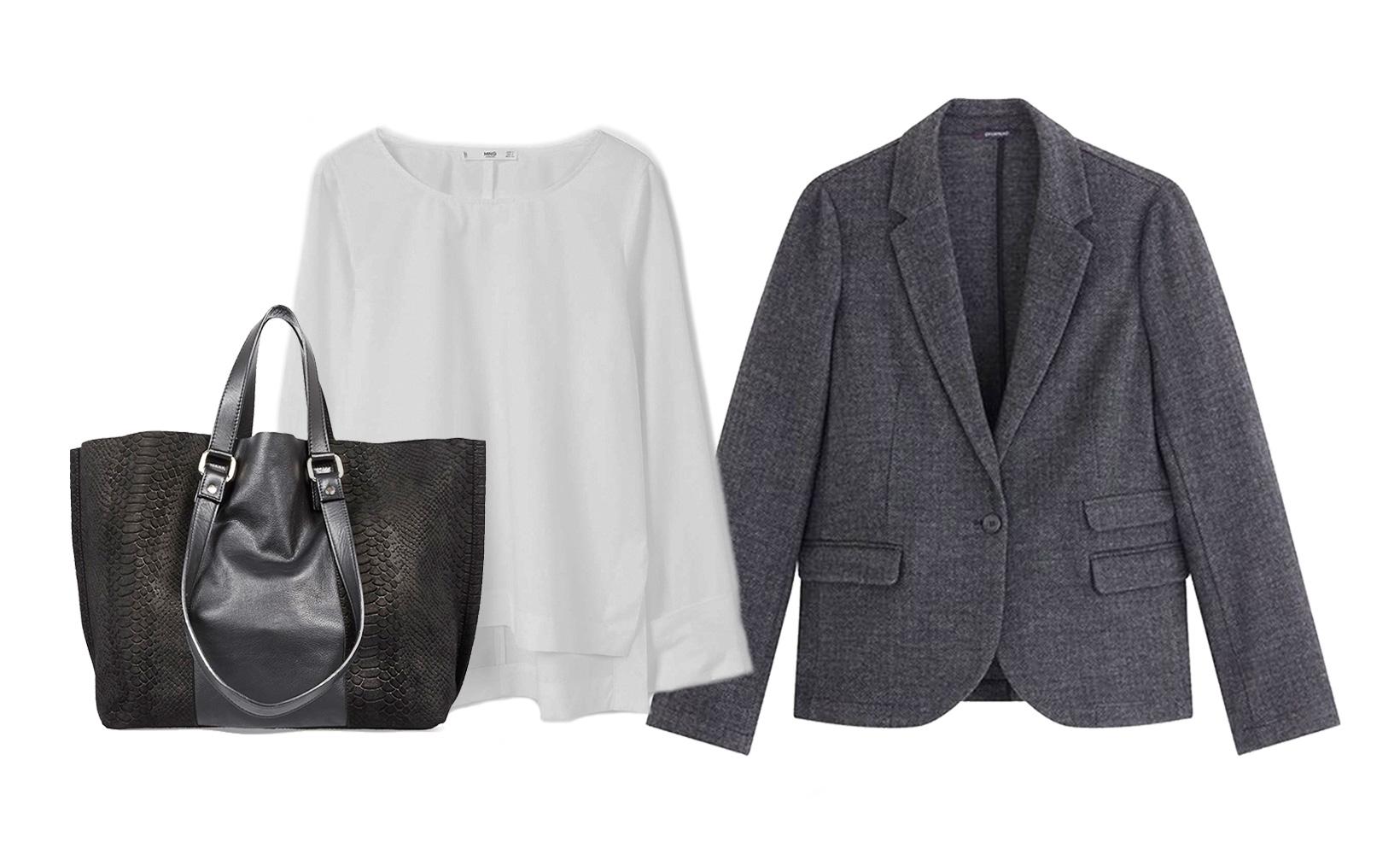 3 basiques : 1 blouse + 1 veste + 1 sac
